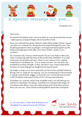 Image of a sample Love Santa personalised letter for an Aussie child