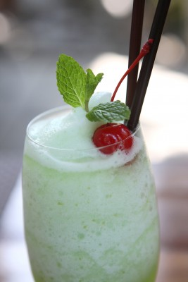 green smoothie with red cherry - perfect for Christmas!
