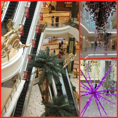 Collage of shopping centres decorated for Christmas