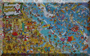 The completed Where's Santa puzzle