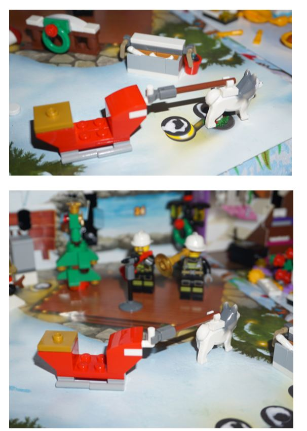 Lego sleigh pulled by husky dog