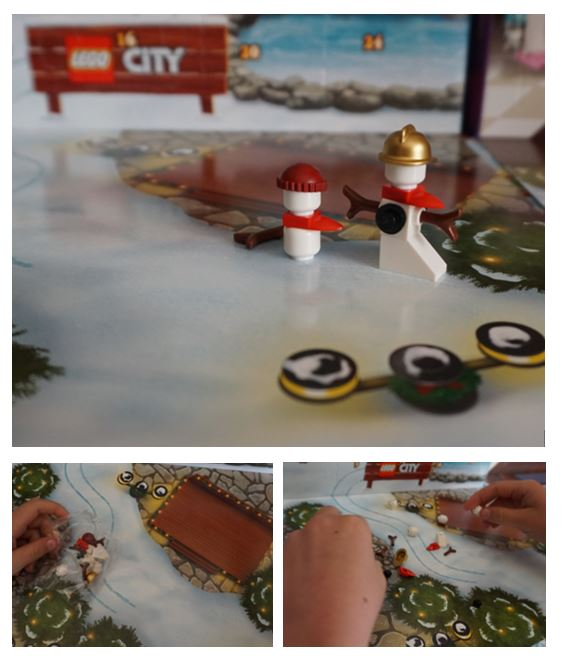 collage of Lego snowmen from advent calendar