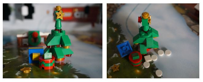 Lego Christmas tree with star on top and present beneath