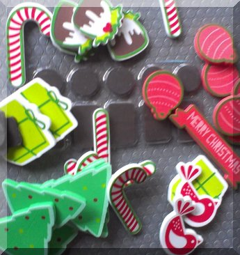 Foam Christmas stickers and plain black magnets